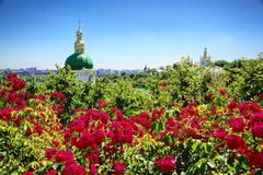 St. Micheals Monastery in wonderful flower field Stock Images