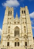 St Michel Cathedral, Brussels, Belgium. Facade of St Michel Cathedral, Brussels, Belgium Stock Photos