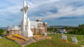 St.Michel church, Perce, Quebec, Canada stock photography