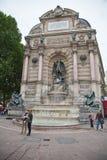 St Michel Fountain en París fotos de archivo libres de regalías