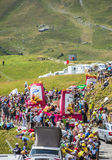 St. Michel Madeleines Caravan in Alps - Tour de France 2015 Royalty Free Stock Photo
