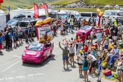 St. Michel Madeleines Caravan in Alps - Tour de France 2015 Stock Photos