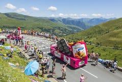St. Michel Madeleines Caravan - Tour de France 2014. Col de Peyresourde,France- July 23, 2014: St. Michel Madeleines vehicle passing in the Publicity Caravn on stock photo