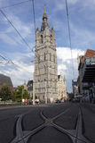 St michielsbrug and niklaaskerk in the old town of Ghent Stock Photos