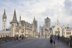 St michielsbrug and niklaaskerk in the old town of Ghent Royalty Free Stock Photography