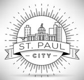 St minimal Paul City Linear Skyline avec la conception typographique illustration stock