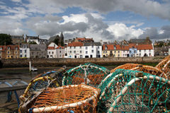 St Monans Harbour. St Monans is a village in the East Neuk of Fife and is named after the legendary Saint Monan Stock Photos