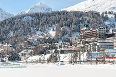 St. Moritz, Alps, Switzerland. Mountain ski resort Royalty Free Stock Photo