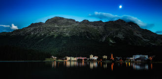 St. Moritz Bad with the moon Stock Photography