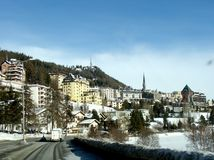 St. Moritz in de Winter royalty-vrije stock foto's