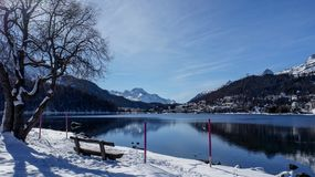 St Moritz Lake and mountains Royalty Free Stock Photography
