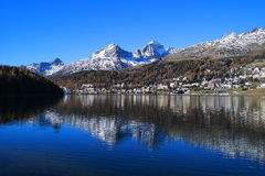 St. Moritz with Lake in Switzerland Royalty Free Stock Photos
