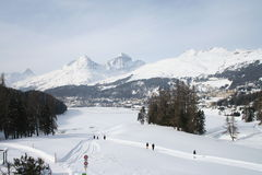 St Moritz lake in winter Stock Images