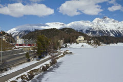 St. Moritz lakeside and town Stock Photography