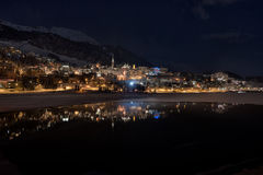 St.moritz mirrored in the lake Stock Photo