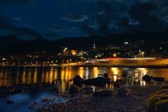St Moritz na noite Estância turística famosa em Suíça imagem de stock