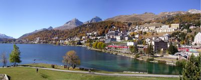 St. Moritz resort. Panoramic view of the St. Moritz resort in Switzerland stock photos