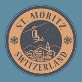 St. Moritz in Switzerland, ski resort. Abstract stamp or emblem with the name of town St. Moritz in Switzerland, ski resort, vector illustration Stock Image