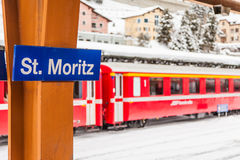 St. Moritz Train Station Arkivbild