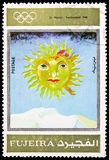 St.Moritz 1948, Winter Olympics 1924-1972, Advertising posters serie, circa 1972. MOSCOW, RUSSIA - MARCH 23, 2019: Postage stamp printed in United Arab Emirates royalty free stock photos