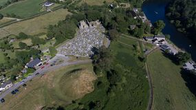 St. Mullins Graveyard and Monastic Site. county Carlow. Ireland. Aerial view. St. Mullins graveyard, monastic site and norman motte. county Carlow. Ireland stock image