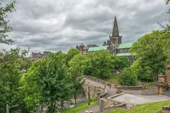 St Mungo`s Cathedral, Glasgow, Scotland, UK. City monument in cloudy weather Royalty Free Stock Photography