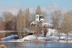 St Naum Ohridski kościół w pogodnym zima dniu, Druzba jeziora park, Sofia, Bułgaria fotografia royalty free