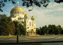 St navale Nicholas Cathedral in Kronštadt Fotografie Stock