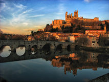 St. Nazaire Cathedral and Pont Vieux. Reflections in Orb river royalty free stock image