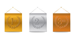 1st; 2nd; 3rd awards banners illustration. Design over white Stock Photos