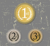 1st, 2nd and 3rd awards seal grunge. Three badges for winner gold silver and bronze royalty free illustration