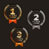 1st, 2nd, 3rd place logo`s with laurels and ribbons. Vector illustration stock illustration