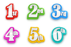 1st 2nd 3rd 4th 5th 6th numbers on white background. With clipping path stock illustration