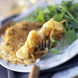 St-nectaire and potato savoury pancake. Food, gastronomy,culinary,cookery Stock Photos