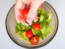 St?ng sig upp av den kvinnliga kockhanden som s?tter kuber f?r Fetaost p? grekisk strikt vegetariantomatsallad med oliv och gr?ns arkivfoton