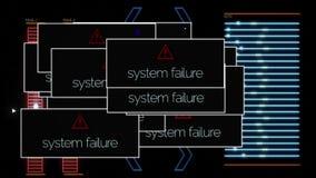 St?ng sig upp f?r ADB-systemkrasch och signaltekniskt fel p? svart bakgrund, monokrom djur Datorsk?rm med stock illustrationer