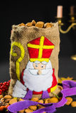 St. Nicholas' bag for children filled with traditional Dutch  sp Stock Photo