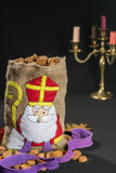 St. Nicholas' bag for children filled with traditional Dutch  sp Royalty Free Stock Photos