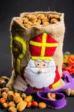 St. Nicholas' bag for children filled with traditional Dutch  sp Royalty Free Stock Images