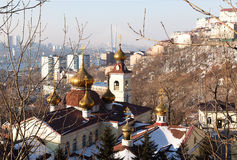 St. Nicholas Cathedral. Church domes and the city Stock Images