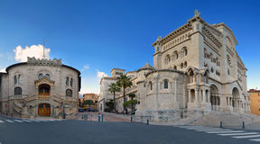 St Nicholas Cathedral en Rechtvaardigheid Palace, Monaco Royalty-vrije Stock Foto