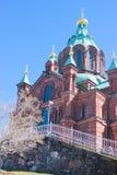 St. Nicholas Cathedral i Helsingfors Royaltyfria Foton
