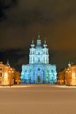 St Nicholas Cathedral i St Petersburg på natten Royaltyfria Foton