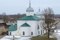 St. Nicholas Cathedral in Izborsky fortress close up. Izborsk, Russia Royalty Free Stock Images