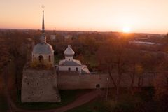 St. Nicholas Cathedral in medieval fortress at sunset. Porkhov, Russia stock images