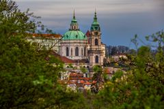 St. Nicholas Cathedral in Prague stock photo