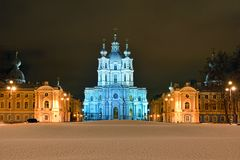 St. Nicholas Cathedral in Saint-Petersburg at night. Stock Image