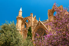 St Nicholas Cathedral, vroeger Lala Mustafa Mosque Famagusta, Cyprus stock afbeelding