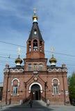 St. Nicholas Church auf der Allee in Barnaul Lizenzfreies Stockbild