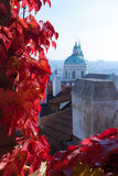 St Nicholas Church in autumn stock image